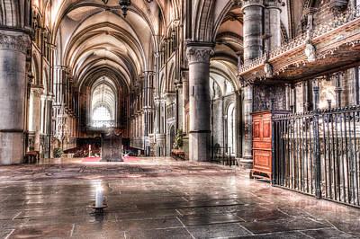 Church Pillars Photograph - Canterbury Cathedral - Interior 7 by Ian Hufton