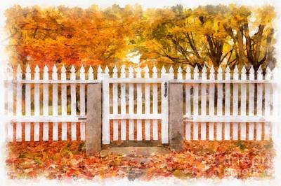 New England Village Photograph - Canterbury Shaker Village Picket Fence  by Edward Fielding