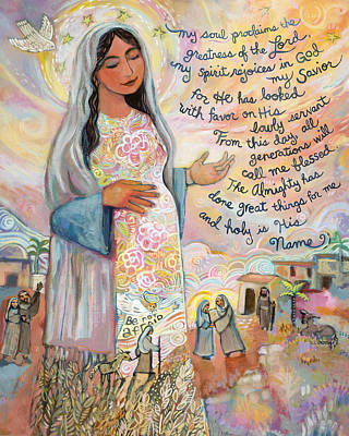 Virgin Mary Painting - Canticle Of Mary by Jen Norton