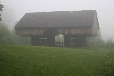 Cantilever Barn In The Fog Art Print