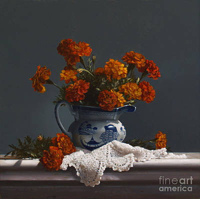 Canton Pitcher With Marigolds Art Print by Larry Preston