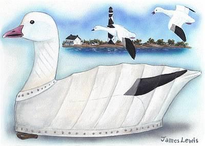 James Lewis Painting - Canvas Snow Goose Decoy by James Lewis