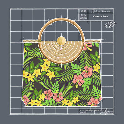 Drawing - Canvas Tote - Tropicale by Larry Hunter