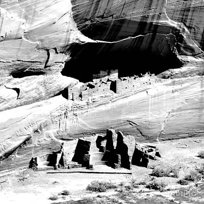 Digital Art - Canyon De Chelly Anasazi White House Ruin Arizona Square Format Bw Conte Crayon Digital Art by Shawn O'Brien