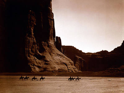 Black And White Horses Digital Art - Canyon De Chelly by Edward S Curtis