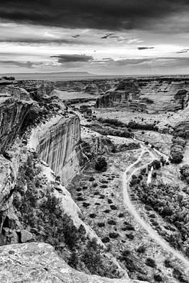 Antique Maps - Canyon de Chelly Navajo Nation Chinle Arizona Black and White by Silvio Ligutti
