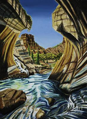 Mesa Drawing - Canyon Falls by Robert Thornton