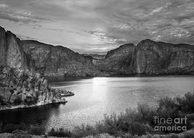 Photograph - Canyon Lake On Apache Trail In Black And White by Lee Craig