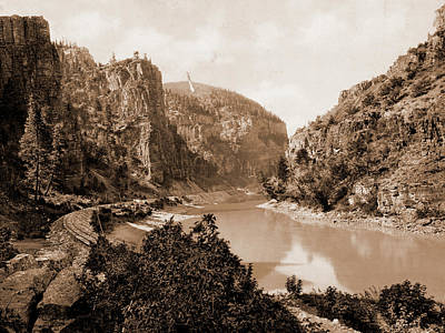 Canyon Drawing - Canyon Of Eagle River, West Entrance, Colorado, Jackson by Litz Collection