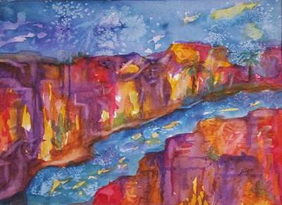 Visionary Art Painting - Canyon Of Old Souls by Ellen Levinson
