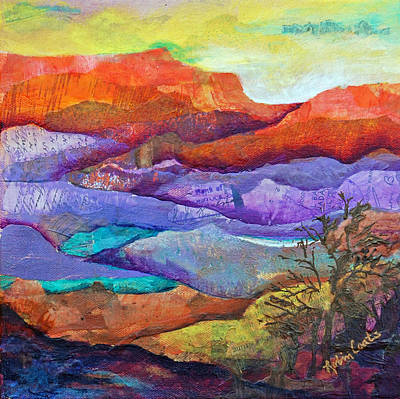 Desert Sunset Mixed Media - Canyon River Landscape by Robin Coats