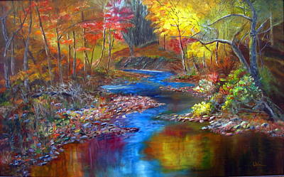 Art Print featuring the painting Canyon River by LaVonne Hand