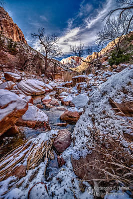 Canyon Stream Winterized Art Print by Christopher Holmes