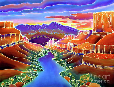 Batik Painting - Canyon Sunrise by Harriet Peck Taylor