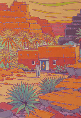 Morroco Painting - Canyon Village In Morroco by Gilles Mevel