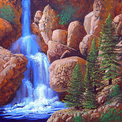 Cascade Canyon Painting - Canyon Waterfall by Frank Wilson