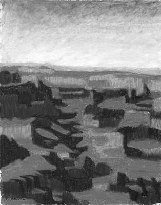 Painting - Canyonscape Black And White by Carrie MaKenna