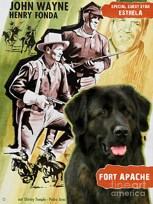 Painting - Cao Da Serra Da Estrela - Estrela Mountain Dog Art Canvas Print - Fort Apache Movie Poster by Sandra Sij