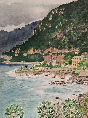 Painting - Cap D'ail During The Storm by Vera  Smith