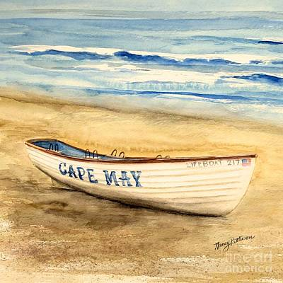 Painting - Cape May Lifeguard Boat - 2 by Nancy Patterson