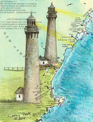 Cape Cod Painting - Cape Ann Twin Lighthouses Ma Nautical Chart Map Art Cathy Peek by Cathy Peek