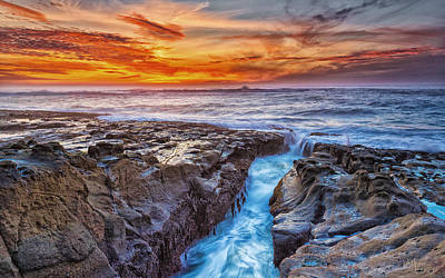 Ocean Sunset Wall Art - Photograph - Cape Arago Crevasse Hdr by Robert Bynum