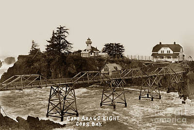Photograph - Cape Arago Light Coos Bay Oregon  Circa 1915 by California Views Archives Mr Pat Hathaway Archives