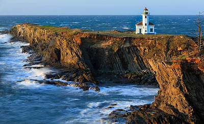 Beach Royalty-Free and Rights-Managed Images - Cape Arago Lighthouse by Robert Bynum