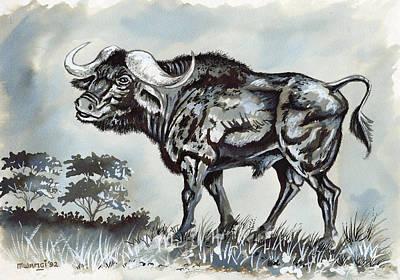 Hippopotamus Drawing - Cape Bufallo by Anthony Mwangi
