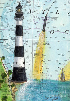 Cape Florida Lighthouse Painting - Cape Canaveral Lighthouse Nautical Chart Map Art by Cathy Peek