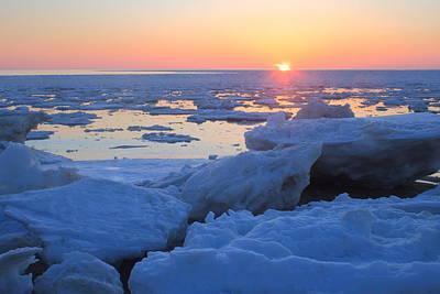 Cape Cod Bay Ice Sunset Art Print