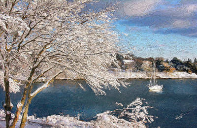 Sailboat Ocean Mixed Media - Cape Cod Christmas by Michael Petrizzo