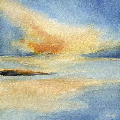 Contemporary Watercolor Painting - Cape Cod Sunset Seascape Painting by Beverly Brown