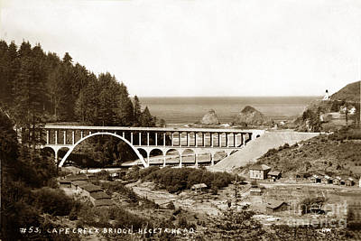 Photograph - Cape Creek Bridge And Heceta Oregon Head Lighthouse  Circa1933 by California Views Mr Pat Hathaway Archives