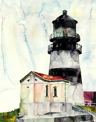 Oregon Lighthouse Painting - Cape Disappointment by Carla Palmer