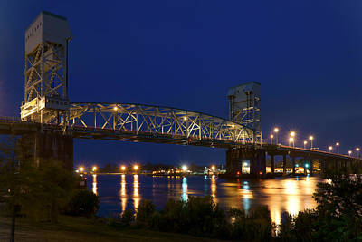 Panoramic Digital Art - Cape Fear Memorial Bridge 2 - North Carolina by Mike McGlothlen