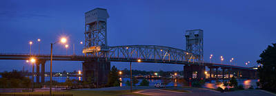 Evening Scenes Photograph - Cape Fear Memorial Bridge - Wilmington North Carolina by Mike McGlothlen
