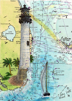 Cape Florida Lighthouse Painting - Cape Florida Lighthouse Nautical Chart Map Art by Cathy Peek