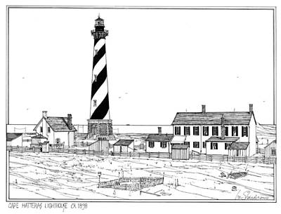 Lighthouse Drawing - Cape Hatteras Lighthouse 1898  by Ira Shander