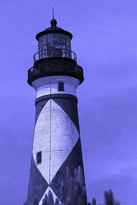 Cape Lookout Light In Purple Art Print by Cathy Lindsey