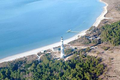 Cape Lookout Lighthouse Aerial View Art Print