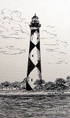 Art Print featuring the drawing Cape Lookout Lighthouse Nc by Julie Brugh Riffey