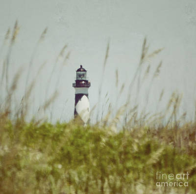 Print featuring the photograph Cape Lookout Lighthouse - Vintage by Kerri Farley