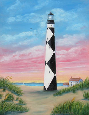Art Print featuring the painting Cape Lookout Sunset by Fran Brooks