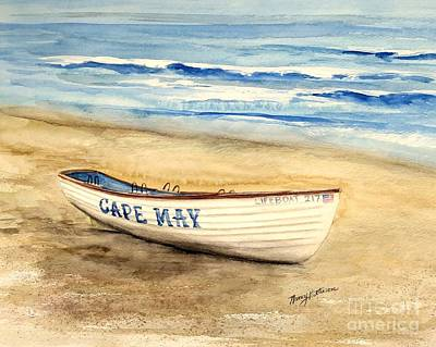 Painting - Cape May Lifeguard Boat 217 by Nancy Patterson