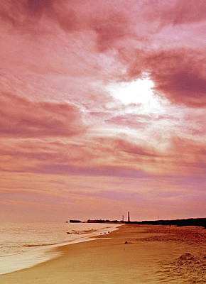 Cape May New Jersey Sunset With Lighthouse In The Distance Art Print by A Gurmankin