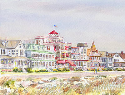 Historic Architecture Painting - Cape May Promenade Cape May New Jersey by Pamela Parsons