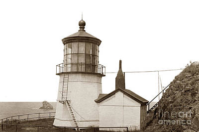 Photograph - Cape Meares Light Oregon State Circa 1915 by California Views Mr Pat Hathaway Archives