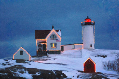 Cape Neddick Painting - Cape Neddick Light Maine Art by MotionAge Designs