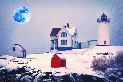 Cape Neddick Painting - Cape Neddick Light Snow Art by MotionAge Designs